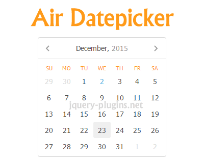 Air Datepicker – Lightweight Cool jQuery Datepicker
