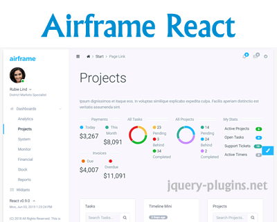 Airframe React – Free & High Quality Dashboard Template Based on Bootstrap & React