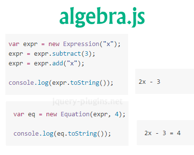 algebra.js – Build, Display and Solve Algebraic Equations in JavaScript