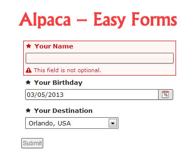 Alpaca – Easy Forms for jQuery and Twitter Bootstrap