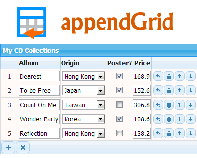 appendGrid – Dynamic Table Input jQuery Plugin