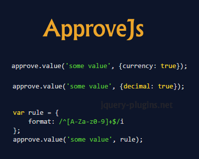 ApproveJs – Simple Javascript Validation Library