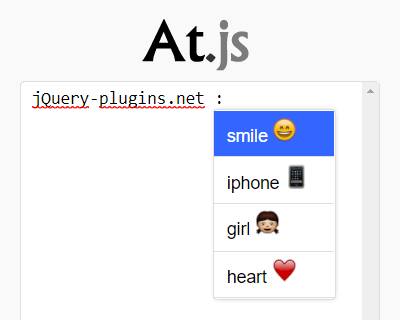 At.js – Github Like Autocomplete Mentions