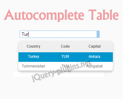 Autocomplete table an autocomplete in the form of table for Add th table jquery