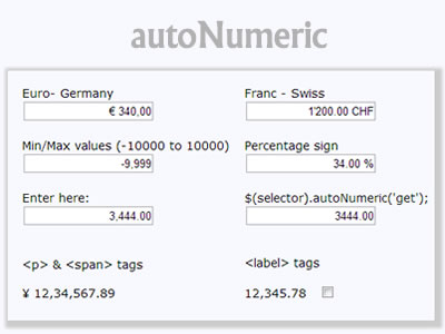 autoNumeric – Numeric and Currency Formatter with
