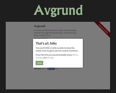Avgrund – JS/CSS3 Modal UI Concept