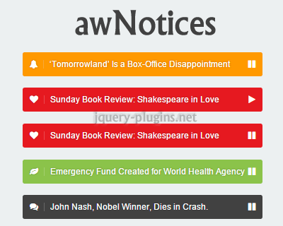 awNotices – jQuery News Ticker