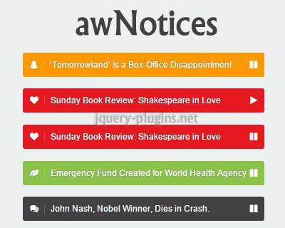 awNotices – jQuery News Ticker