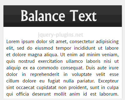 Balance Text – jQuery Plugin for Text Wrapping