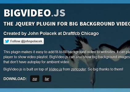 BigVideo.js – jQuery Plugin for Big Background Video and Images
