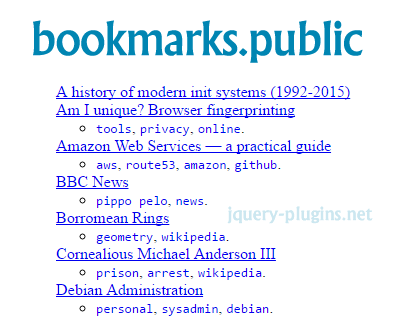 bookmarks.public – Template for Self-Hosted Bookmarks using HTML & jQuery