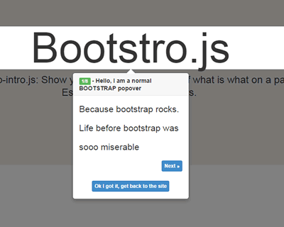 Bootstro.js – jQuery Plugin for Guided Tour on Page
