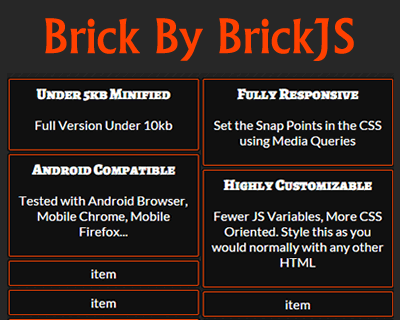 Brick By BrickJS – Lightweight jQuery Masonry Alternative