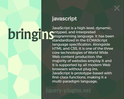 Bringins – jQuery Plugin to Show Animated Page