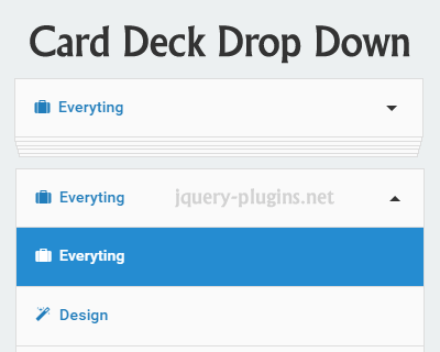Card Deck Style DropDown with CSS and jQuery