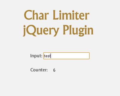 Char Limiter jQuery Plugin