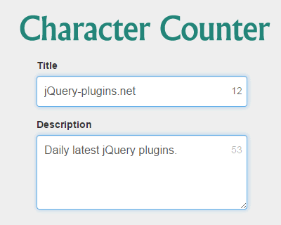 Character Counter for jQuery