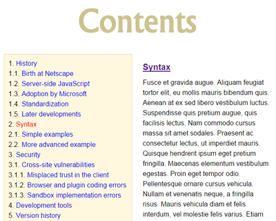 Contents – Table of Contents Generator