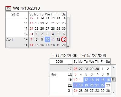 Continuous Calendar – Date Picker & Date Range Selector jQuery Plugin