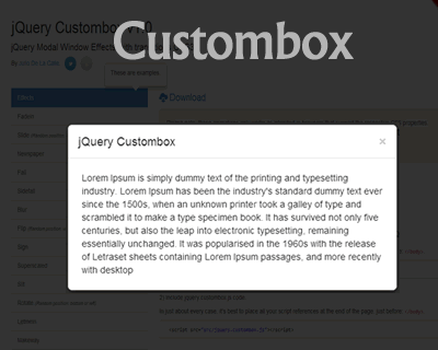 Custombox – jQuery Modal Effects with CSS3 Transitions