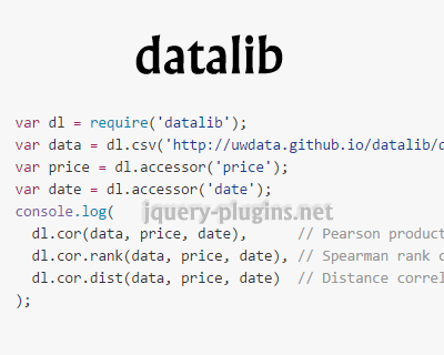 Datalib – JavaScript Data Utility Library