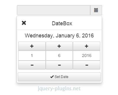 DateBox –  jQuery Date and Time Picker