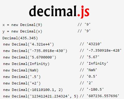 decimal.js – Arbitrary Precision Decimal Type for JavaScript