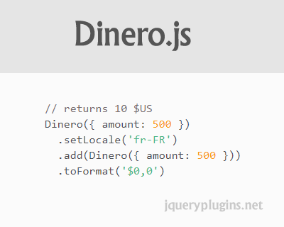 Dinero.js – JavaScript Library to Create, Calculate and Format Monetary Values