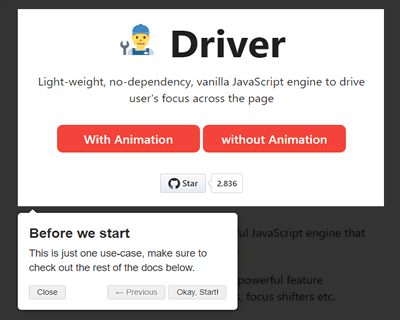 Driver.js – JavaScript Engine to Drive Users Focus Across the Page