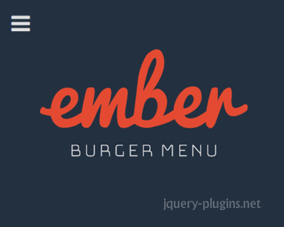 Ember Burger Menu – Off-Canvas Sidebar Component with CSS Animations