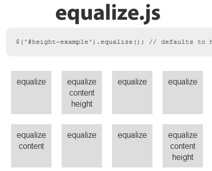 equalize.js – jQuery Plugin for Equalizing the Height or Width of Elements