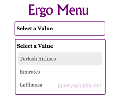Ergo Drop Down Menu Control with jQuery