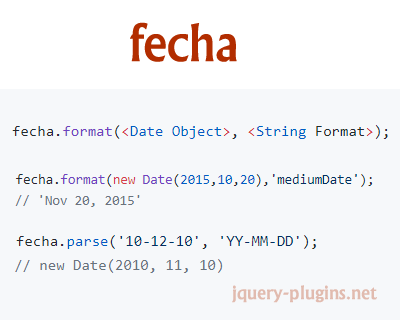 Fecha – Javascript Date Formatting and Parsing Library
