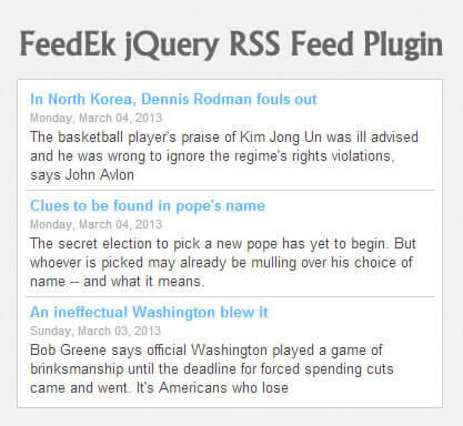 FeedEk jQuery RSS/ATOM Feed Plugin