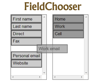 FieldChooser – Drag & Drop Items Between 2 Lists with Multiselect