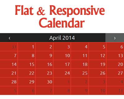 Flat and Responsive jQuery Calendar