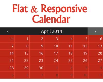 Flat and Responsive jQuery Calendar