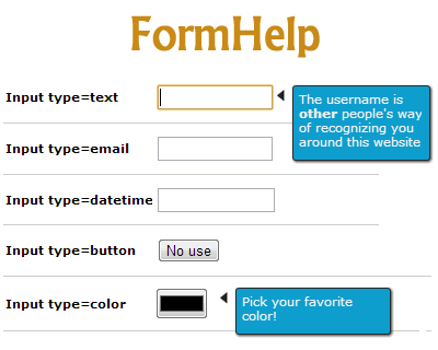 FormHelp – jQuery Plugin for Contextual Help in Form