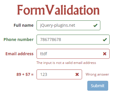 FormValidation – jQuery Plugin to Validate Form Fields