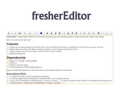 fresherEditor – jQuery Rich Text Editor