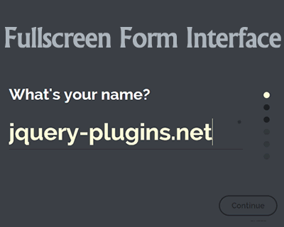 Fullscreen Form Interface