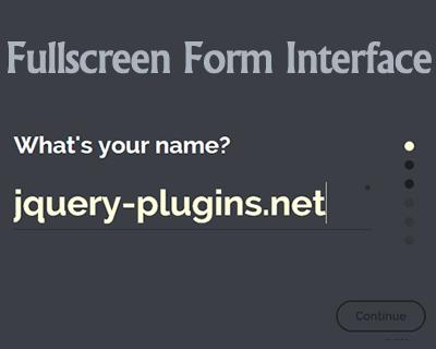 Fullscreen Form Interface