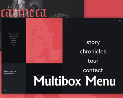 Fullscreen Multibox Menu with Reveal Animation