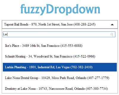 fuzzyDropdown – Fuzzy Searchable Dropdown