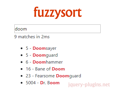 fuzzysort – Fast SublimeText-Like Fuzzy Search for JavaScript