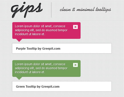 gips – jQuery Clean and Simple Tooltips
