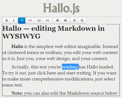 Hallo.js – Simple Rich Text Editor for the Web