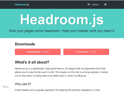 Headroom.js – Hide Header Until You Need It