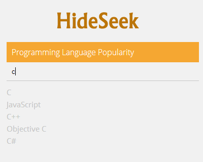 HideSeek – Customizable Quick/Live Search jQuery Plugin