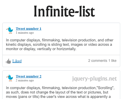InfiniteList – Infinite List in Javascript